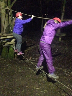 Low ropes in the dark!